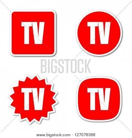 tv simple red web internet icon set flat design sticker tag