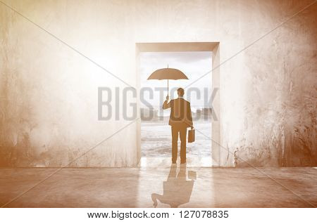 Businessman Unique Thinking Looking Alone Concept