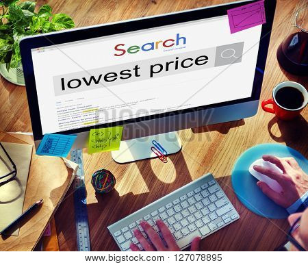 Businessman Lowest Price Search Concept