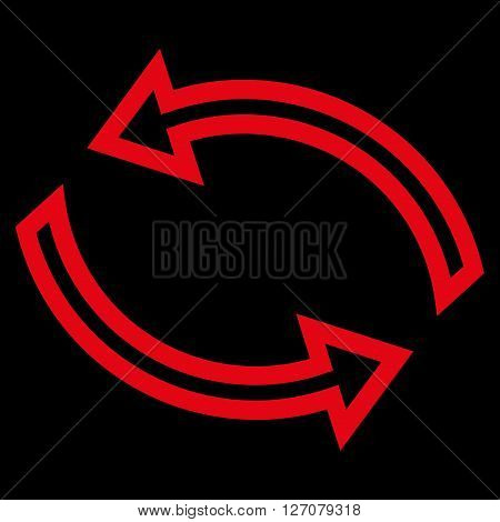 Update Arrows vector icon. Style is contour icon symbol, red color, black background.