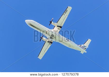 Plaisance Mauritius - December 27 2015: The ATR 72-500 aircraft of Air Austral takeoff from the Sir Seewoosagur Ramgoolam International Airport (MRU) Plaisance Mauritius. Air Austral is a French airline with its headquarters at Roland Garros Airport in Sa