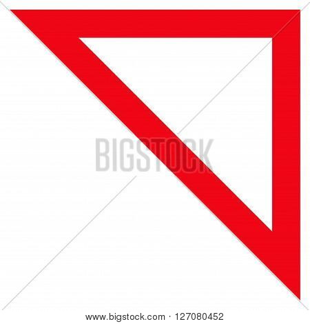 Arrowhead Right Up vector icon. Style is contour icon symbol, red color, white background.