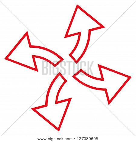 Centrifugal Arrows vector icon. Style is thin line icon symbol, red color, white background.