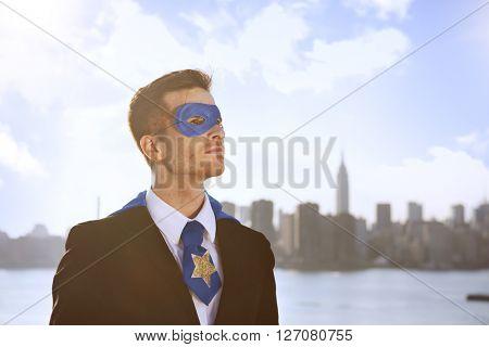 Superhero Successful Aspiration Building Costume Concept