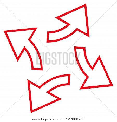 Circular Exchange Arrows vector icon. Style is outline icon symbol, red color, white background.
