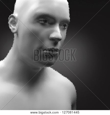 Cyborg, Android, Robot. Realistic Vector Humanoid Robot. View of Human Head. Stipple Effect. Vector Art. Dot Design. Pointillism Style. Face Scanning.