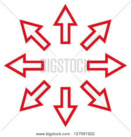 Explode Arrows vector icon. Style is contour icon symbol, red color, white background.