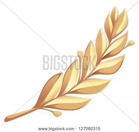 Golden laurel branch. Isolated on white vector illustration