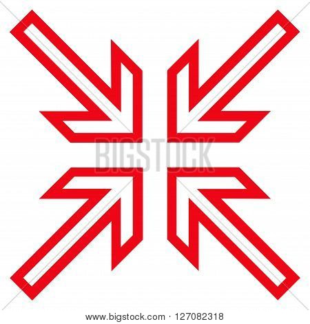 Implode Arrows vector icon. Style is stroke icon symbol, red color, white background.