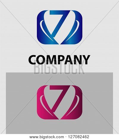 Abstract Number 7 logo Symbol icon set