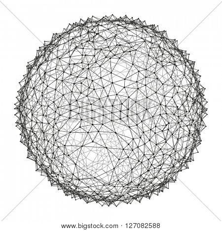 Sphere with Connected Lines and Dots. Networks - Globe Design.