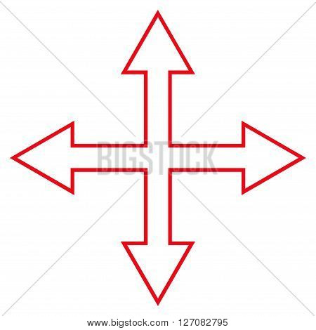 Maximize Arrows vector icon. Style is thin line icon symbol, red color, white background.
