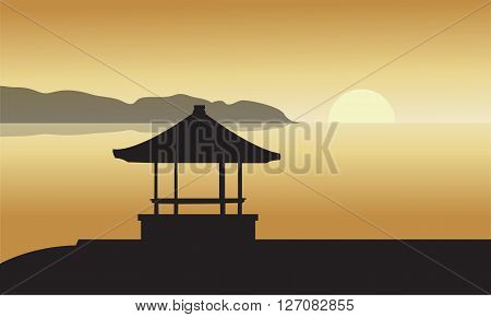 Silhouette of Gazebo at Sunset in beach