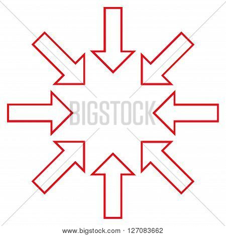 Pressure Arrows vector icon. Style is stroke icon symbol, red color, white background.