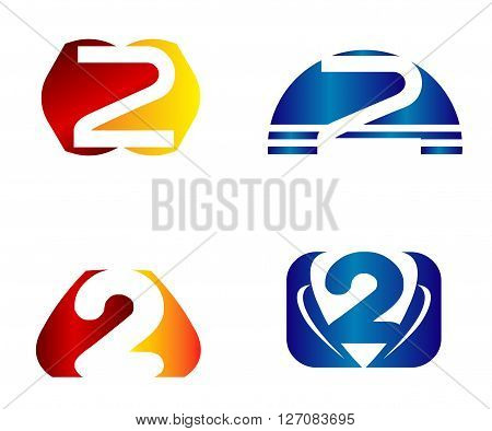 Abstract icons for number 2 logo. Vector logotype design