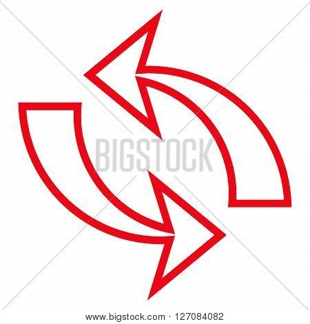 Refresh Arrows vector icon. Style is stroke icon symbol, red color, white background.