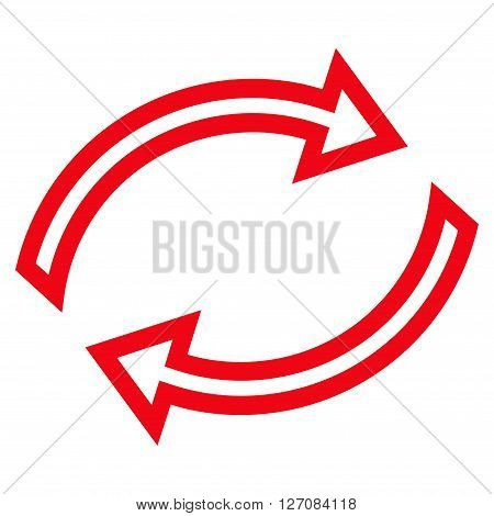 Refresh Arrows vector icon. Style is outline icon symbol, red color, white background.