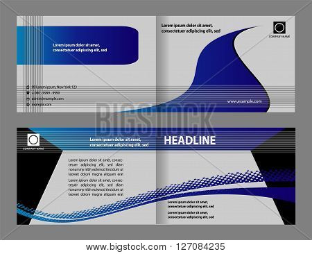 Bi-fold business brochure. Vector Brochure Layout Design Template