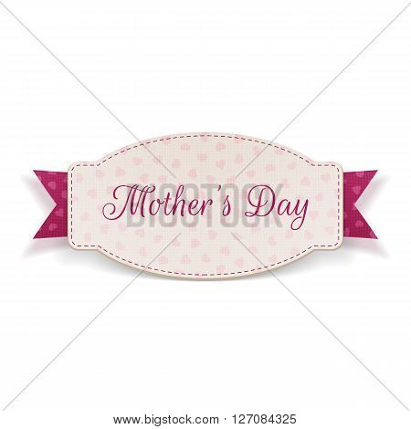 Mothers Day realistic Holiday Banner Template and pink Ribbon isolated on white Background. Vector Illustration