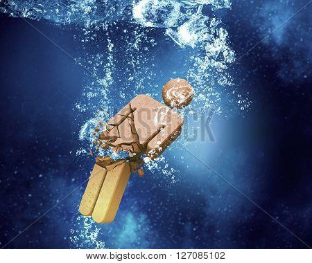 Man silhouette under water
