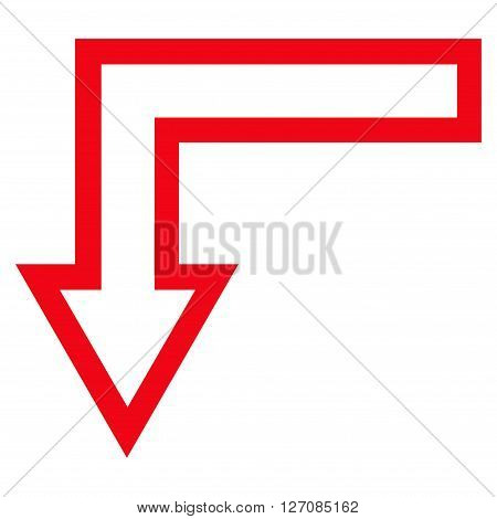 Turn Down vector icon. Style is contour icon symbol, red color, white background.