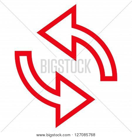 Update Arrows vector icon. Style is stroke icon symbol, red color, white background.