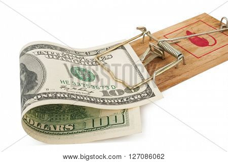 Mousetrap with hundred dollars bill.