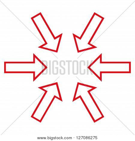 Pressure Arrows vector icon. Style is outline icon symbol, red color, white background.