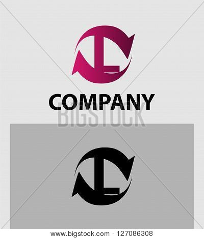 Vector illustration of abstract icons of letter L