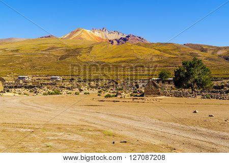 Coqueza Village and Dormant volcano at Solar De Uyuni Bolivia