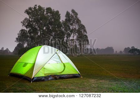 Camping Tent Illuminated Inside