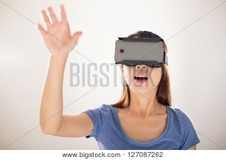 Woman wearing vr device