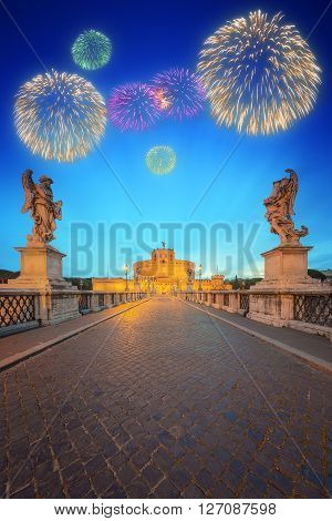 Beautiful fireworks under Castle of the Holy Angel, Castel Sant'angelo and Bridge of the Holy Angel, Ponte Sant Angelo Rome, Italy.
