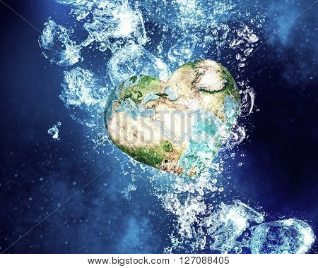 Earth planet under water