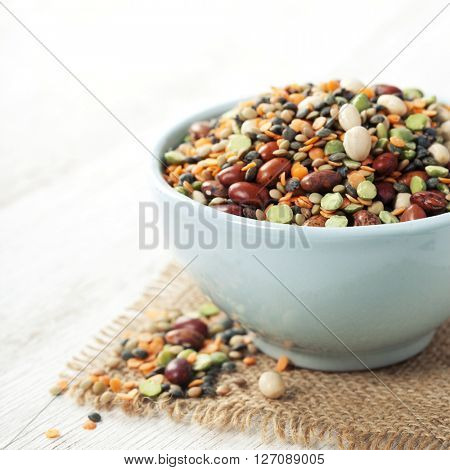 Mix of red  bean, lentil, green peas and chickpea over white