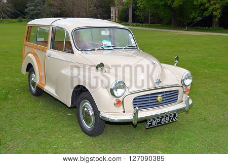 Saffron Walden, Essex, England - April 24, 2016:  Classic Cream Morris  Traveller motor car in vintage car rally.