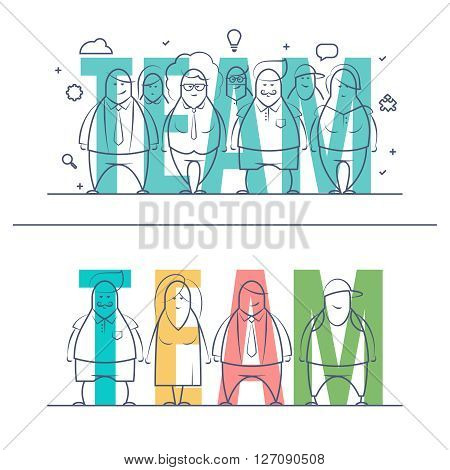 Thin line set of stylized business people of words team. Doodle drawn style vector illustration. Minimal style of consept. Isolated teamwork concept on white background