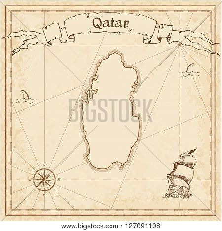 Qatar Old Treasure Map. Sepia Engraved Template Of Pirate Map. Stylized Pirate Map On Vintage Paper.