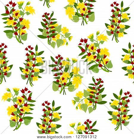 Bouquets of buttercups and red bellflowers, with leaves on white background, seamless pattern, vector illustration