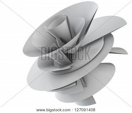 3D illustration of techno flower model on white background