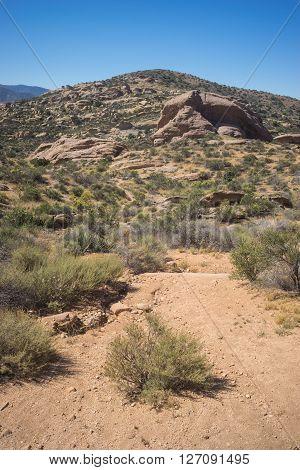 Trailhead leads into the wilderness of the hot Mojave Desert near Santa Clarita California.