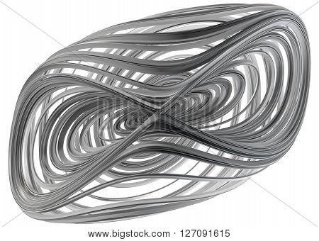 3D illustration of abstract figures made of elastic ribbons