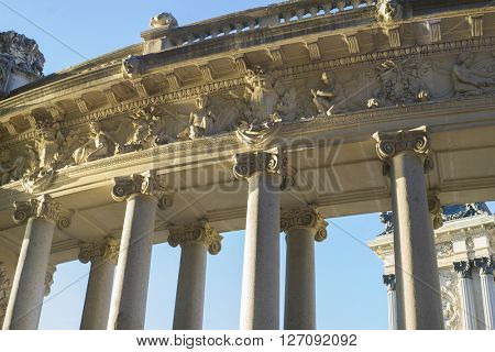 Travel, Stone monument with Ionic columns in the Jardin del Retiro in Madrid, Spain