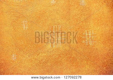 Light brown textured background with white and brown thread.