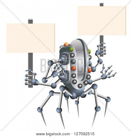 Little robot brought flowers and gifts, electronic computer device. vector