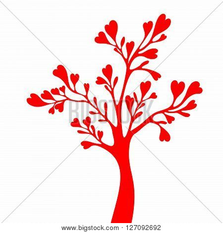 Vector Tree Silhouette Isolated on White Backgorund.