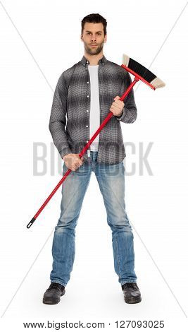 Young Worker With A Broom