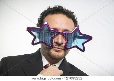 famous, businessman with glasses stars, crazy and funny achiever