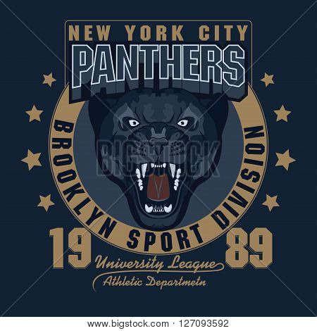 Panther Sport t-shirt graphics, Vintage Apparel typography, Artwork stamp print design, wild big cat head. Aggressive wild-cat with bared teeth in cartoon style