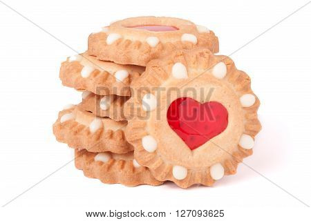 cookies with marmalade heart isolated on white background.